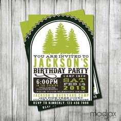 Campout Birthday Party Invitation - Camp Birthday Invite - MadJax Design and Print - Etsy
