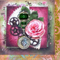 Jewel Vintage Flair Rose Approx 8x8 Topper Decoupage on Craftsuprint designed by Barbara Hiebert - made by Darlene Handorff - I used glossy photo paper for all the elements including a backing paper cup361475_10 Rainbow Flower Damask. I cut the backing paper and attached it to the Bob's 8 x 8 card blank from edge to edge and used a distress pink ink pad around the edges of the right and bottom. I then cut the main pattern leaving equal space in order to attach it to the upper left of the of…
