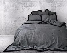 washed European linen duvet cover in grey finished with a black colour border around. King Bedding Sets, Luxury Bedding Sets, Black Duvet Cover, Linen Duvet, Duvet Covers, Colours, Grey, King Size, Count