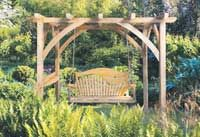 Pergola with rope and bed swing outdoors | trees oak seat rope swings benches chairs the trilogy swinging love ...