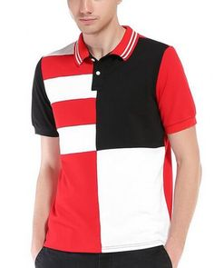 Whatlees Mens Casual Hipster Slim Fit Short Sleeve Polo Shirt / Geometric Designs Patchwork Tops XX-Large: Design inspiration:Simple To Extremebrbr Mens Tees, Shirt Men, Short Sleeve Polo Shirts, Men Casual, Men Summer, 2017 Summer, Summer Tops, College Style, British Fashion