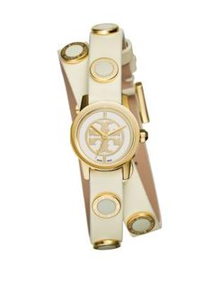 TORY BURCH Reva Mini Goldtone Stainless Steel & Studded Leather Strap Watch/Ivory. #toryburch #watch/ivory
