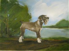 Original oil painting of a Schnauzer with by BushmanStudio on Etsy, $75.00