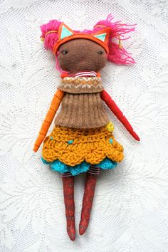 Sweeeeeet circus pixie girl with crochet tutu, striped jumper, mismatched arms, neon pink hair, pink cat ears... by humbletoys