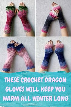 These Crochet Dragon Gloves Will Keep You Warm All Winter Long Crochet Projects, Craft Projects, Craft Ideas, Easy Crochet, Knit Crochet, Fun Crafts For Teens, Crochet Stitches, Crochet Patterns, Crochet Dragon