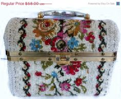 ON SALE Tapestry Embroidered Handbag Box Purse Italy