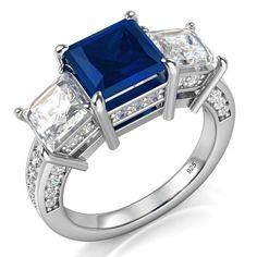 Sz 7 Sterling Silver 925 Princess Cut Blue & White Cubic Zirconia CZ…