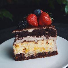 Такой рыхлый, влажный шоколадный торт со слоем печенья Спекулос с молочным шоколадом и запеченным чизкейком с облепихой✨