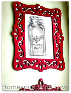 This vintage mod kitchen art DIY from Homespun With Love was created with printables from The Graphics Fairy. I love the perfect mason jar print and the red frames. Kitchen Wall Art, Diy Kitchen, Kitchen Decor, Kitchen Rustic, Kitchen Tips, Kitchen Ideas, Kitchen Design, Mason Jar Art, Ikea