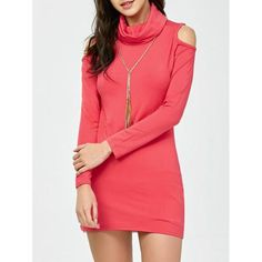 Cowl Neck Bodycon Cold Shoulder Dress