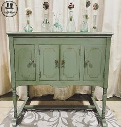 The Distressed Gentleman || Record player cabinet Painted with General Finishes Basil Milk paint