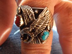 Size 11 ring Native American ring Native American Jewelry southwest jewelry Texas sterling  turquoise jewelry Harley Davidson ring Eagle by LittleCherokeeValley on Etsy