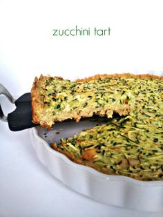 """Spring Zucchini Tart. Lauren's Notes: A new favourite - very light, very malleable to your tastes by adding ingredients, seasoning, more cheese etc. The brown rice """"crust"""" is a stroke of genius."""