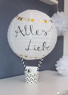 DIY Geschenkidee zur Hochzeit - Heißluftballon Geldgeschenk basteln - Geldgeschenk schön verpacken