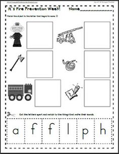 Maggie's Kinder Corner: It's Fire Preventions Week, so here is a sound match FREEBIE for letters p, f, l, h, and a