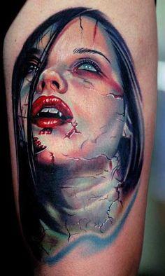 ff936c72f Nikko - Female Zombie Vampire Tattoo Insane Tattoos, Weird Tattoos, Tattoos  For Guys,