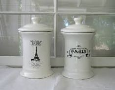 Image result for paris inspired containers Paris Decor, Paris Theme, Paris Bathroom, French Chic, French Decor, Home Salon, Black Decor, Apothecary Jars, Candle Jars