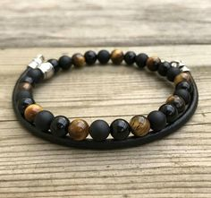 men leather bracelet beaded tiger's eye onyx bracelet for #OnyxBracelets