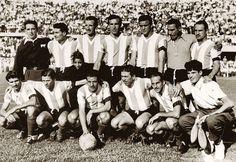 1955. Argentina - Parados: Lombardo, Balay, Dellacha, Vairo, Musimessi y E. Gutiérrez. Agachados: Micheli, Cecconato, Borello, Labruna y Cuchiaroni.