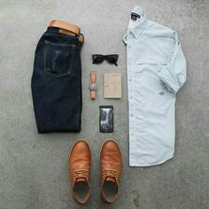 Outfit grid - Jeans, white shirt, tan shoe & belt