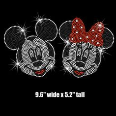 9.6 wide Minnie Mickey Mouse faces iron on rhinestone