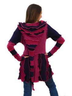 Elf Coat Sweater Coat Upcycled Recycled Sweaters Purple by tantor