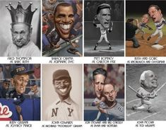 Caricatures of famous people photos) Barack Obama, Fred Thompson, John Edwards, Rudy Giuliani, Celebrity Caricatures, Babe Ruth, Keanu Reeves, Funny Faces, Easy Drawings
