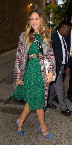 From Victoria Beckham and SJP to Jennifer Aniston, these stylish celebrities over 40 have the most impressive outfit games we've seen. Get inspired here. Celebrity Outfits, Celebrity Style, Whistles Dresses, Red Frock, Side Stripe Trousers, Jessica White, British Fashion Awards, Houndstooth Jacket, Valentino Dress