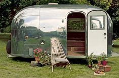 An Airstream Bambi. The Dumbo Feather crew have their own airstream.wonder where they found it? Vintage Campers, Camping Vintage, Retro Campers, Vintage Caravans, Vintage Travel Trailers, Classic Campers, Vintage Rv, Vintage Beauty, Vintage Silver