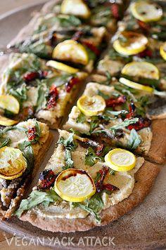 Vegan Pizza Recipe - Rustic Arugula Flatbread from @Vegan Yack Attack - #vegan