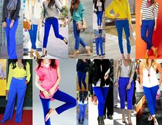 colours to go with my cobalt jeans – want the scarf in the first look Cobalt Pants Outfit, Cobalt Jeans, Cobalt Blue Pants, Blue Jeans, Royal Blue Outfits, Blue Jean Outfits, Casual Outfits, Cute Outfits, Fashion Outfits