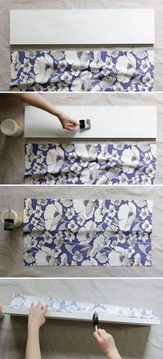 Decoupage Fabric Shelf  Next project, Madi's draws and the small book shelf