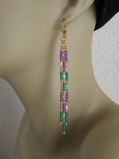 Seed Bead Chain Earrings  Mardi Gras by pattimacs on Etsy, $14.00