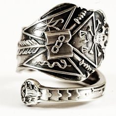 Skull Odd Fellows Spoon Ring in Sterling Silver Masonic Pattern, Handmade & Adjustable to Your Size (2694)