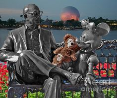 Bear and His Mentors.   Roy Disney, Minnie Mouse and Bear at Walt Disney World Orland Florida.     Note: This is 05 of 07 Mentor Photographs.     I hope you enjoy these moments in time that have been captured.     Stop by and check out some of my other Galleries on Fine Art America.  Just simply search for Thomas Woolworth.     Photographer (1977), Digital Artist and Owner V'CAD Support (since 1987). email: Tom510@aol.com