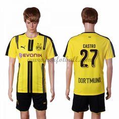 Billige Fotballdrakter BVB Borussia Dortmund 2016-17 Castro 27 Hjemme Draktsett Kortermet