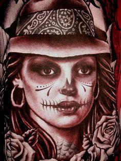 Female Joker   ETERNITY GIRL JOKER SKULL ART DESIGN TATTOO LIGHT RED MEN T SHIRT SZM