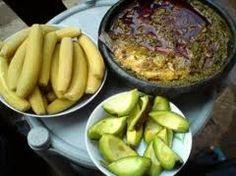 boiled plantain avocado pear kontonmire stew..Ghanaian delicacy