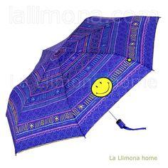 Paraguas mujer. Paraguas Smiley mujer plegable automático azul