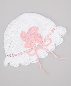 White & Pink Flower Bow Crocheted Beanie