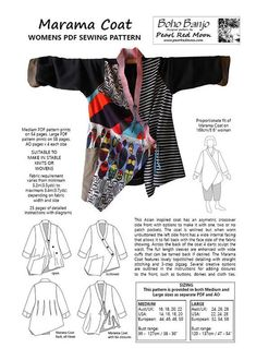 Original clothing design by textile artist pearl red moon this is an asian inspired coat with an asymetric crossover side front with options to make i Sewing Patterns Free, Free Sewing, Clothing Patterns, Loom Patterns, Clothing Ideas, Sewing Hacks, Sewing Tutorials, Sewing Tips, Sewing Clothes