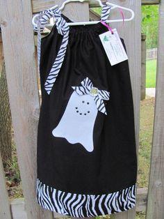 Spooky Ghost Zebra Pillowcase Dress by hnhdaisy on Etsy