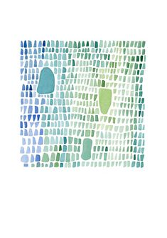 Under 25 Sea Glass Abstract Art Print Watercolor Blue Green Archival