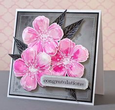 Beautiful #Stampendous Spring Blooms card from Elina Stromberg