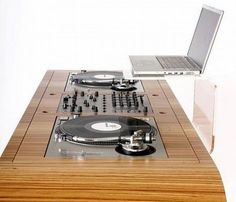 Custom-made Hoerboard DJ Workstations with built-in CD-players