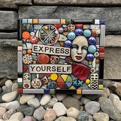 Original Handmade Mixed Media Ceramic And Glass Mosaic by Artist Shawn DuBois