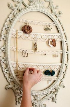 This is here as an idea reminder. Using any size frame and wire, dowels, or metal strips(for magnets) you can store many things. Things like a magazine holder, x-mas cards, or paperclip yours or your kids artwork. Put accesories for outfits together, jewelry, scarves hairclips, or collections by color. Use in a craft room for supplies or tools or as a bulletin board,. Display a collection of magnets and clean off your refrigerator.
