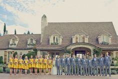 bridal party yellow/ grey
