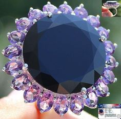 49.50 cts HUGE GENUINE BLACK SPINEL & AMETHYST RING 100% SOLID 925SS S#7 NR #JPS #Cocktail