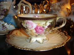 RS Prussia Roses Teacup Footed Mold 627 Antique